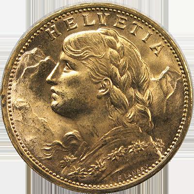 Switzerland Gold 20 Franc Bu