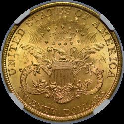 $20 Liberty Type 3 1895 MS-64 reverse