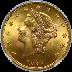 $20 Liberty Type 3 1897 MS-64 NGC