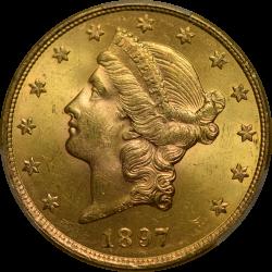 $20 Liberty Type 3 1897-S MS-64 PCGS