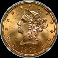 $10 Liberty Coronet Motto 1901 MS-66 NGC