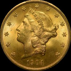 $20 Liberty Type 3 1904 MS-65+ obverse
