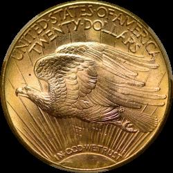 $20 Saint Motto 1923-D MS-65 reverse